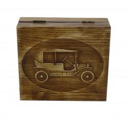 Pudełko drewniane RETRO SAMOCHÓD I, na pędzel, maszynkę i mydło, bez zawartości