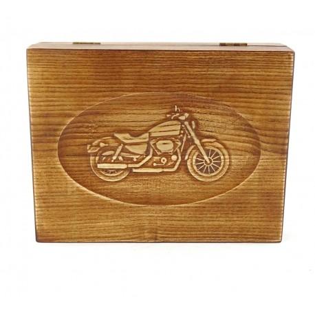 Jesionowe pudełko RETRO Motocykl na zestaw z brzytwą