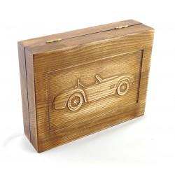 Jesionowe pudełko RETRO Samochód I na zestaw z brzytwą, bez zawartości