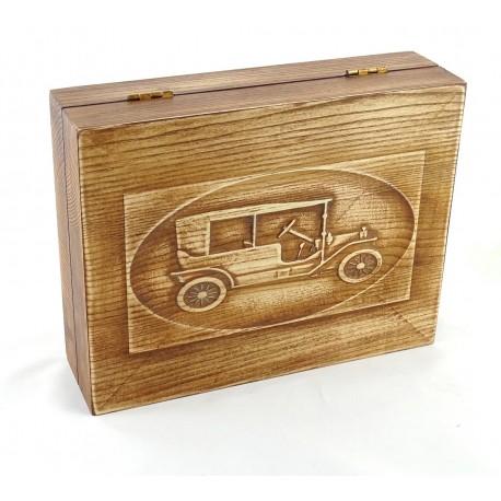 Jesionowe pudełko RETRO Samochód II na zestaw z brzytwą, bez zawartości