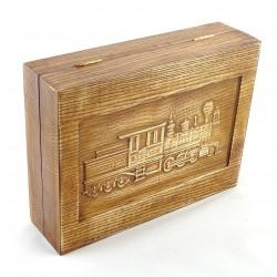 Jesionowe pudełko RETRO Parowóz I na zestaw z brzytwą, bez zawartości