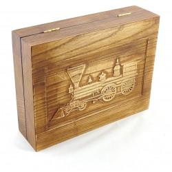 Jesionowe pudełko RETRO Parowóz II na zestaw z brzytwą, bez zawartości