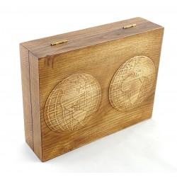 Jesionowe pudełko RETRO Mapa Świata na zestaw z brzytwą, bez zawartości