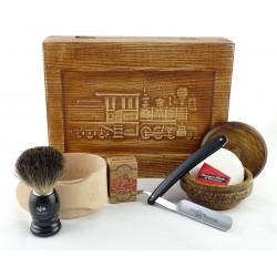 RETRO Parowóz I 7-elementowy zestaw do golenia brzytwą w drewnianym pudełku, czarny