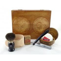 RETRO Mapa Świata 7-elementowy zestaw do golenia brzytwą w drewnianym pudełku, czarny