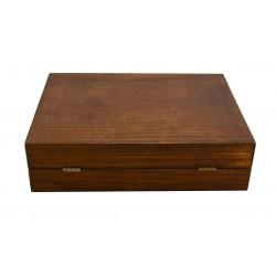 Pudełko drewniane na pędzel, maszynkę i mydło, bez zawartości