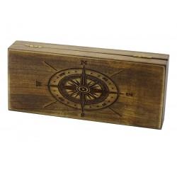 Jesionowe pudełko Róża wiatrów na brzytwę, bez zawartości