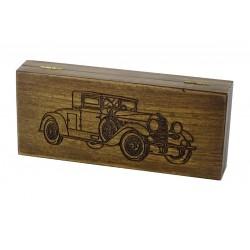 Jesionowe pudełko RETRO Samochód II na brzytwę, bez zawartości