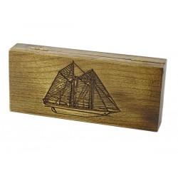 Jesionowe pudełko RETRO Żaglowiec III na brzytwę, bez zawartości