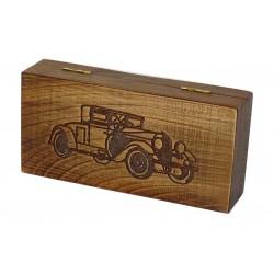 Jesionowe pudełko RETRO Samochód II na maszynkę, bez zawartości