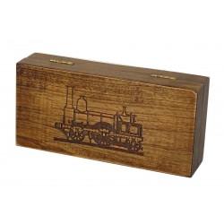 Jesionowe pudełko RETRO Parowóz II na maszynkę, bez zawartości