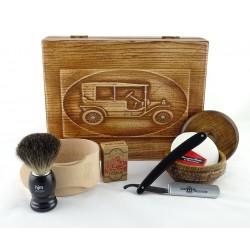 RETRO Samochód II 7-elementowy zestaw do golenia brzytwą w drewnianym pudełku, czarny