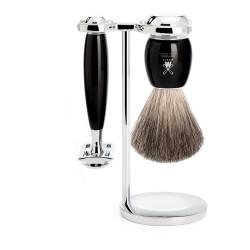Mühle Vivo S81M336SR 3-el zestaw do golenia z pędzlem Pure Badger, maszynką na żyletki i stojakiem, czarny