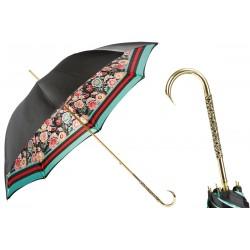 PASOTTI Parasol Damski DOPPIO FLOWER, długi, luksusowy, podwójny baldachim, mosiężna zdobiona rękojeść