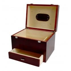 MR, Venezia Drewniana duża skrzynia na akcesoria do butów, okucia, skórzana rączka, barwiona na orzech