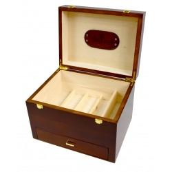 MR, Milano Drewniana duża skrzynia na akcesoria do butów, okucia, skórzana rączka, barwiona na orzech