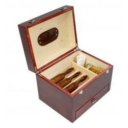 MR, Venezia 7-elem. drewniana mahoniowa duża skrzynia ze szczotkami do pielegnacji butów, mahoń szczecina