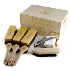 Marco Ricci Zestaw Nr 10 szczotki do pielęgncji obuwia w drewnianym pudełku
