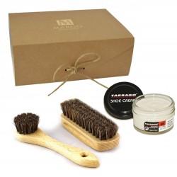 Margo 3-el. uniwersalny zestaw do pielęgnacji skórzanego obuwia, końskie włosie, ekologiczne pudełko
