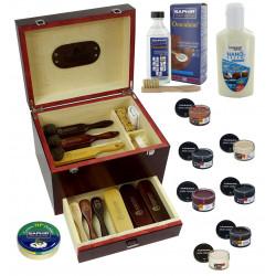 MR, XXL, 26 elementów Venezia trzy kolory Drewniana duża skrzynia do butów ze szczotkami i kosmetykami