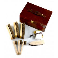 Marco Ricci Zestaw Nr 11 szczotki do pielęgncji obuwia w drewnianym pudełku