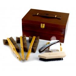Marco Ricci Zestaw Nr 8 szczotki do pielęgncji obuwia w drewnianym pudełku