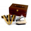 Marco Ricci Salerno 7 el. zestaw akcesoriów do pielęgnacji obuwia w drewnianym kufrze, końskie włosie