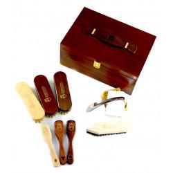 Marco Ricci Lazio 10 el. zestaw szczotek i akcesoriów do pielęgnacji obuwia w drewnianej skrzyni