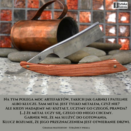 Elegancka brzytwa Koraat-Knives 7/8 drewno różane, wklęsłość near wedge