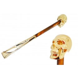 Łyżka do obuwia Pasotti Gold Skull, Pearly Brown Shaft, cs W33PO