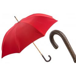 Pasotti męski czerwony parasol z plecionym skórzanym uchwytem 63/5000 143 Double-19 N37