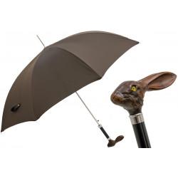 Pasotti Brązowy męski parasol z rączką w kształcie królika 478 Oxf-17 113