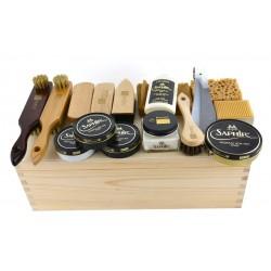Saphir - 16el. zestaw do pielęgnacji butów w drewnianym pudełku