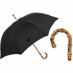 Pasotti Parasol męski Bespoke 476F Oxf-18 B - Oxford Black Umbrella with Bamboo Handle