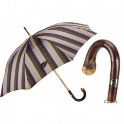 Pasotti Parasol męski Bespoke 142 6496-12 CBR - Solid Chestnut Striped Umbrella with Knob End