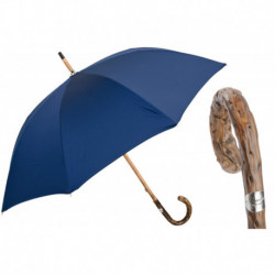 Pasotti Parasol męski Bespoke 476 Oxf-14 G - Navy Umbrella with Broom Wooden Handle