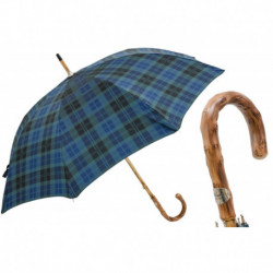 Pasotti Parasol męski Bespoke 142 Celtic-8 K - Blue Check Umbrella with Wooden Handle