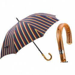 Pasotti Parasol męski Bespoke 145 Alfred-1 C - Large Striped Umbrella, Chestnut Handle