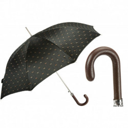 Pasotti Parasol męski Bespoke 478 5880-1 PU - Artisanal Italian Umbrella with Leather Handle