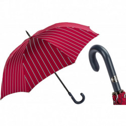 Pasotti Parasol męski Bespoke 145 Bruce-3 P - Large Striped Umbrella, Leather Handle