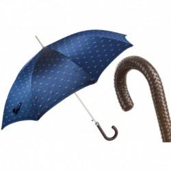 Pasotti Parasol męski Bespoke 478 5880-3 N37 - Classic Umbrella with Braided Leather Handle