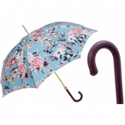 Pasotti Parasol damski  Flowered  20 9A436-6 P - Flowered Umbrella with Burgundy Leather Handle