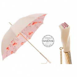 Pasotti Parasol damski  Flowered  189 5F211-8 S7 - Ivory and Pink Flowered Umbrella