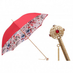Pasotti Parasol damski  Flowered  189 9B325-5 A12 - Red Umbrella with Flowers