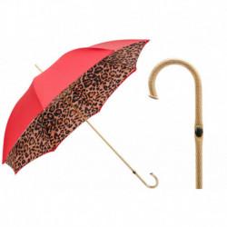 Pasotti Parasol damski  Animal 189 5A488-92 P5 - Red Leopard Print Umbrella, Podwójny materiał