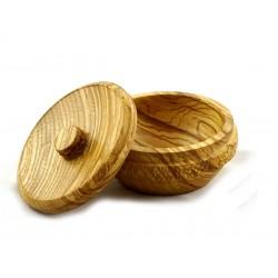 Drewniany tygielek na mydło do golenia, jesion, ręcznie wykonany