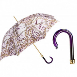 Pasotti Parasol damski  Animal 20 58002-7 G15 - Purple Nuance Umbrella with Chains Print
