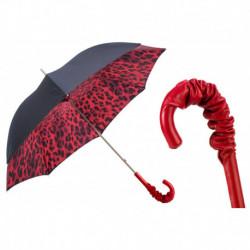Pasotti Parasol damski  Animal 189N 52417-21 A35 - Red Leopard Print Umbrella, Podwójny materiał