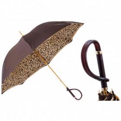 Pasotti Parasol damski  Animal 189 1411-61 A - Brown Speckled Umbrella, Podwójny materiał