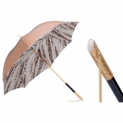 Pasotti Parasol damski  Animal 189 5A003-31 U5 - Light Gold Pearls Print Umbrella, Podwójny materiał